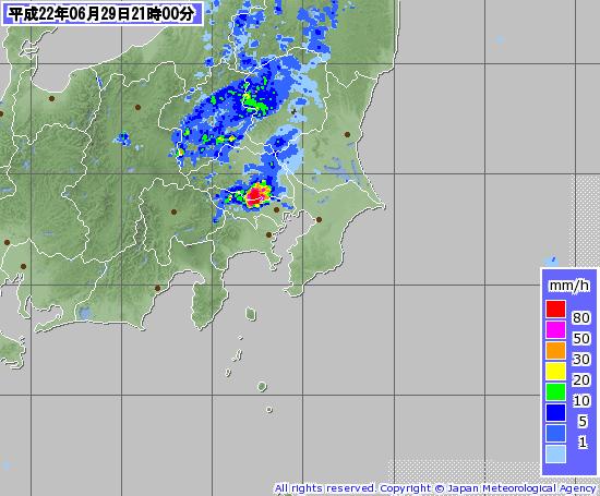 201006292100-00レーダーナウキャスト(関東)