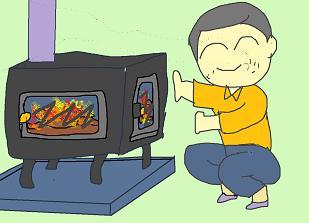 薪ストーブに着火