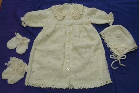 編み物 ベビードレスセット 9