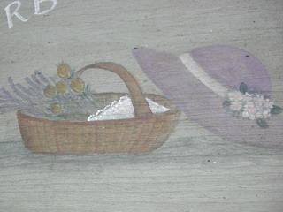 ログハウスの壁の絵