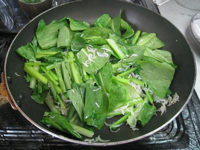 小松菜のジャコ炒め③