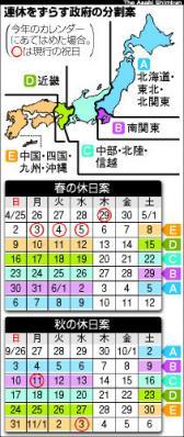 休み分割の日本地図