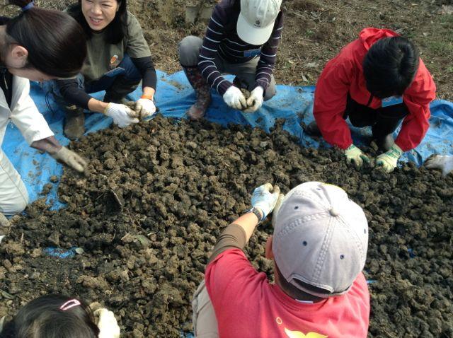 11:9・畑の粘土を細かく解す