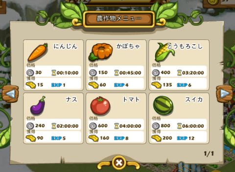 作物の選択