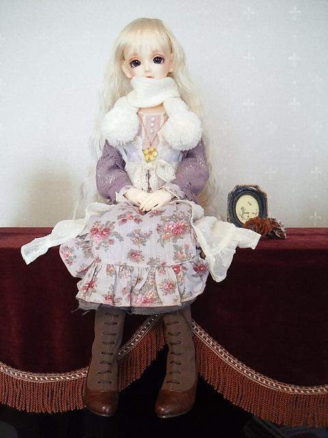 ぼんぼんマフラー白3