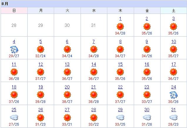 8月の天気