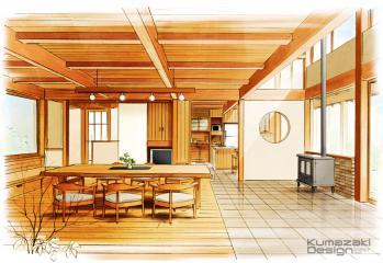 木造 住宅 リビング ラフスケッチ 内観パース インテリアパース インナーパース 手描きパース 手書きパース