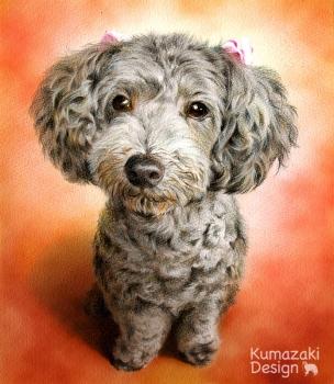 ペット肖像画 ペットの絵 ペット画 似顔絵 イラスト 犬 いぬ 小犬 子犬 トイプードル 色えんぴつ画 色鉛筆画