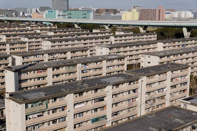 都営辰巳一丁目アパートの住棟俯瞰
