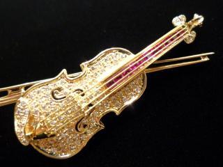 K18ブローチ・ヴァイオリン