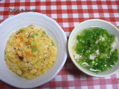 チャーハンと餃子スープ