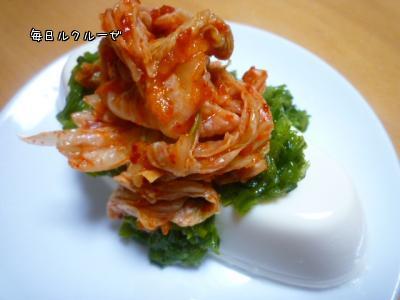 ケンちゃん豆腐onめかぶキムチ