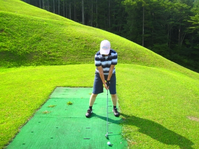 2日目、お父さんと3人でゴルフへ。