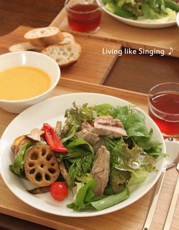 秋野菜と自家製ツナのランチ