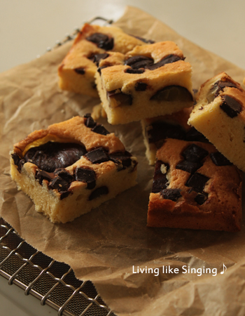 チョコと栗のアーモンドケーキ