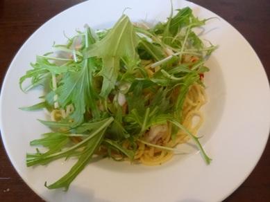 海老と水菜のアーリオオーリオ