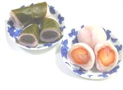 桜餅と苺大福