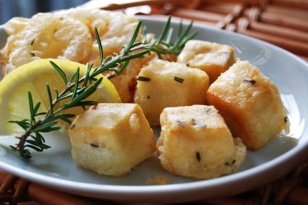 高野豆腐のローズマリーフリッター w