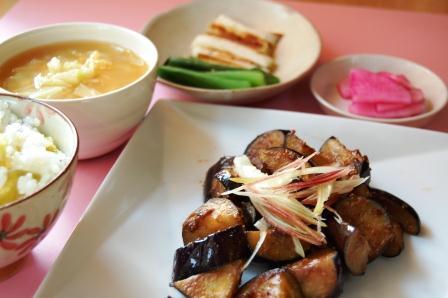 秋ナスの味噌炒め定食w