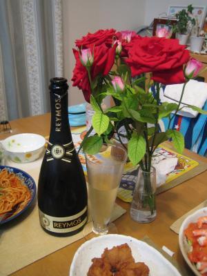 バラとシャンパン