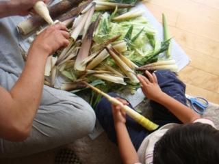 ベビーコーンと真竹の筍の皮をむいています。
