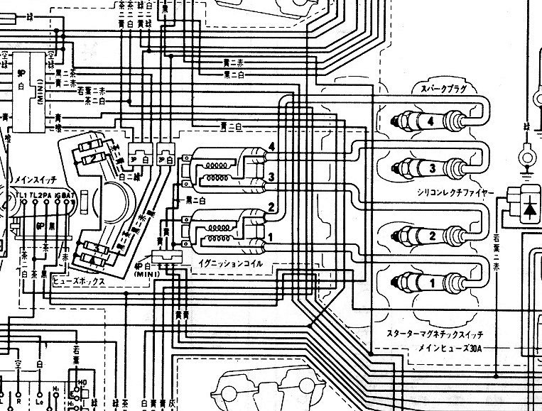 CB750F配線図(コイル拡大)