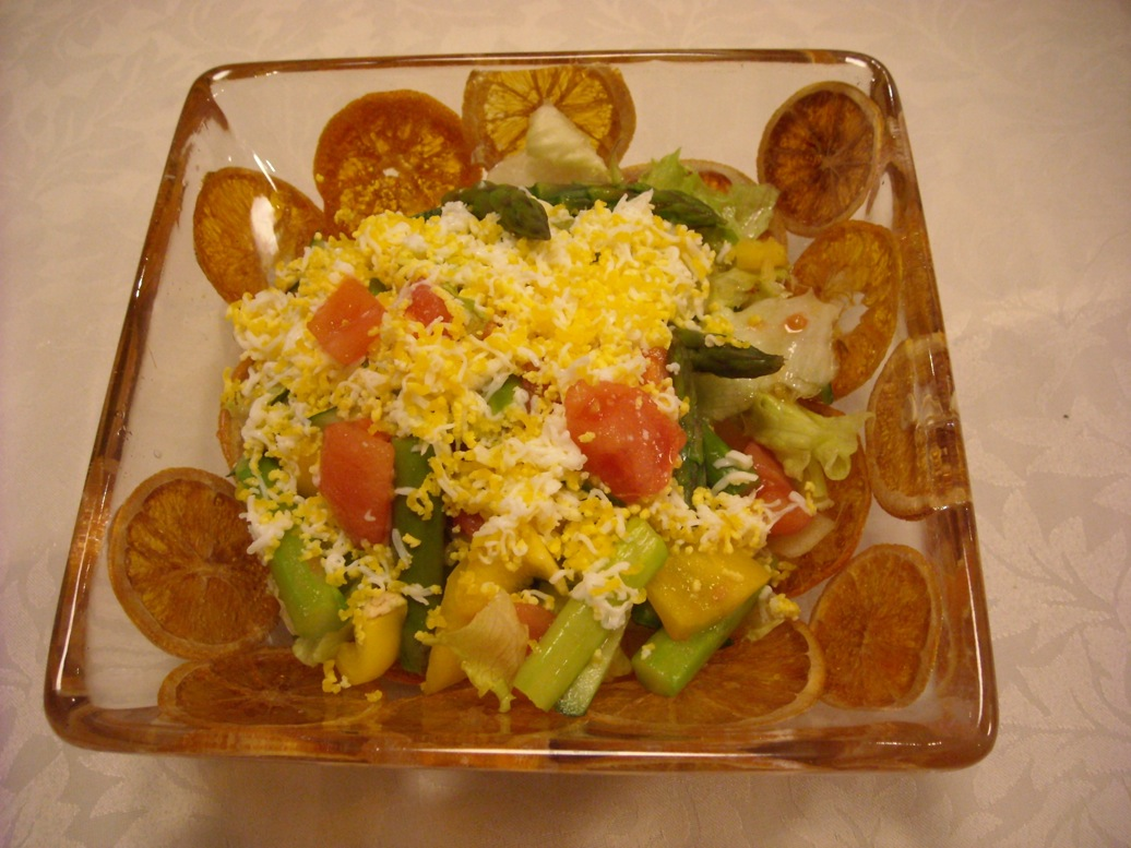 オレンジ皿サラダ
