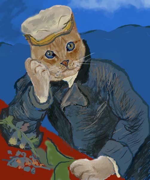 猫の【医師ガシェの肖像】 フィンセント・ファン・ゴッホ
