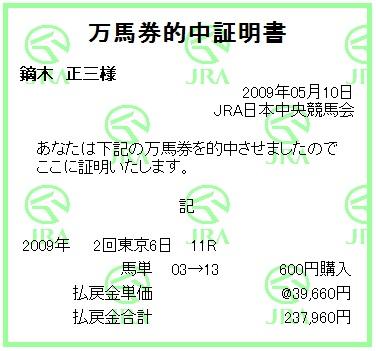 20090510東京11R馬単
