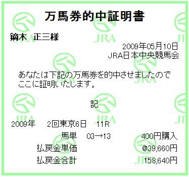20090510東京11R馬単追加