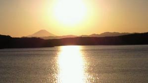今日の夕空と富士山