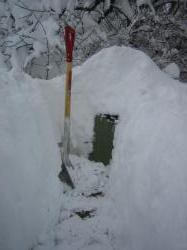 コンポスト雪の中に発見