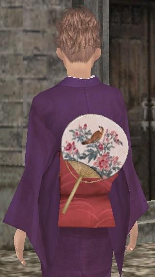 小袖(紫)と団扇