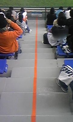 左がレフト巨人応援席、右がレフト外野指定席の境界線です