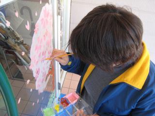 ガラス絵・桜①