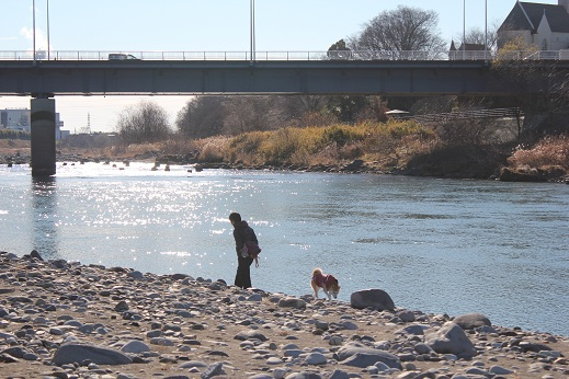 パパと河原へ
