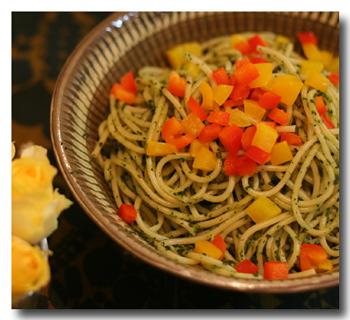 小松菜とアンチョビのパスタ