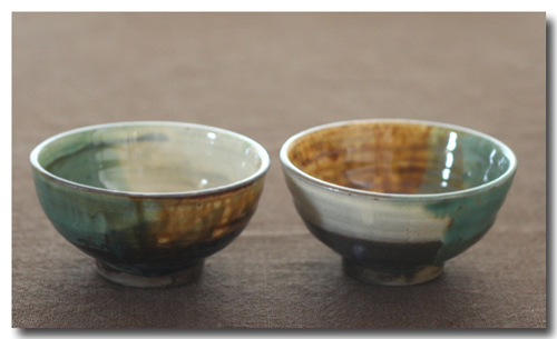3彩釉の茶椀