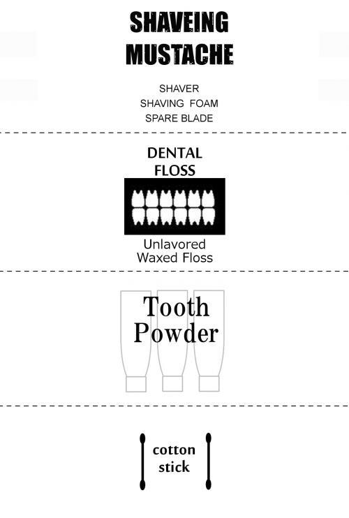 髭そり、デンタル歯磨き、綿棒