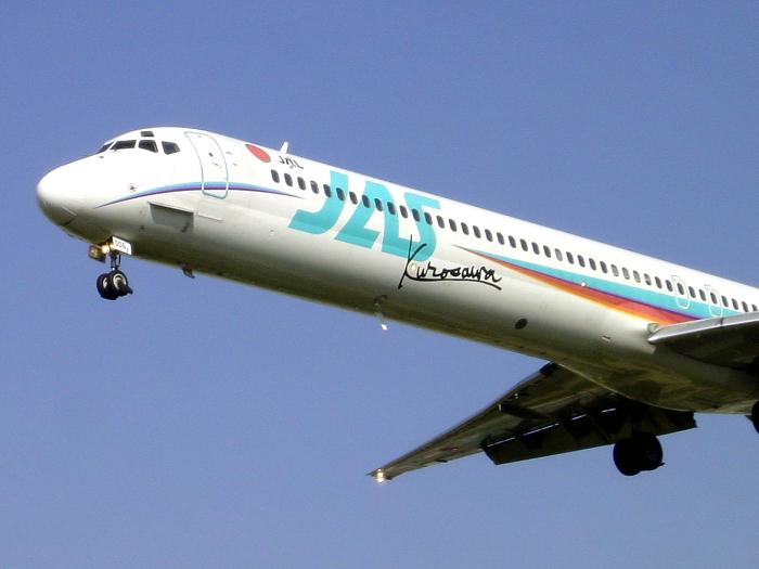 2004年4月9日/JAS MD-90 Kurosawa2号機@千里川土手(by SONY CyberShot DSC-P5)