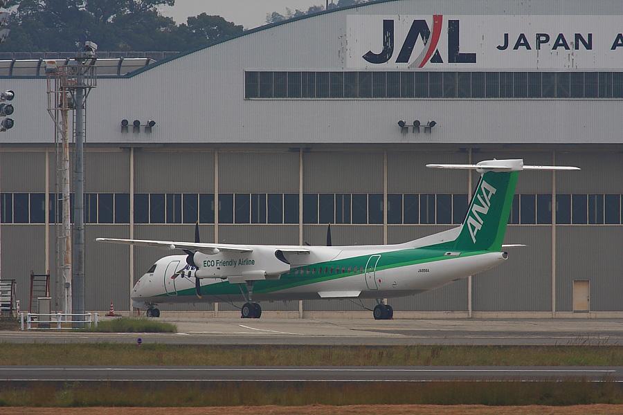 ANA DHC-8-Q400 JA856A ECO Friendly Airline@RWY14Rエンド(by EOS40D with SIGMA APO300/2.8 EX DG+APO TC2x)
