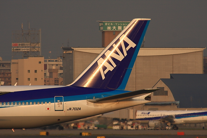 ANA B777-281 ANA35@RWY14Rエンド・猪名川土手(by 40D with SIGMA APO300/2.8EX DG+APO TC2x)