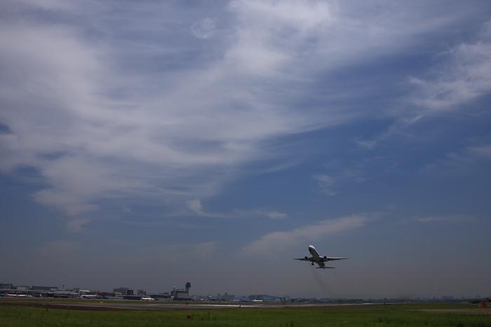昼間の空&ANA B777-381 ANA105@RWY14Rエンド・ガードレール脇(by 40D with SIGMA 18-50/2.8EX DC)