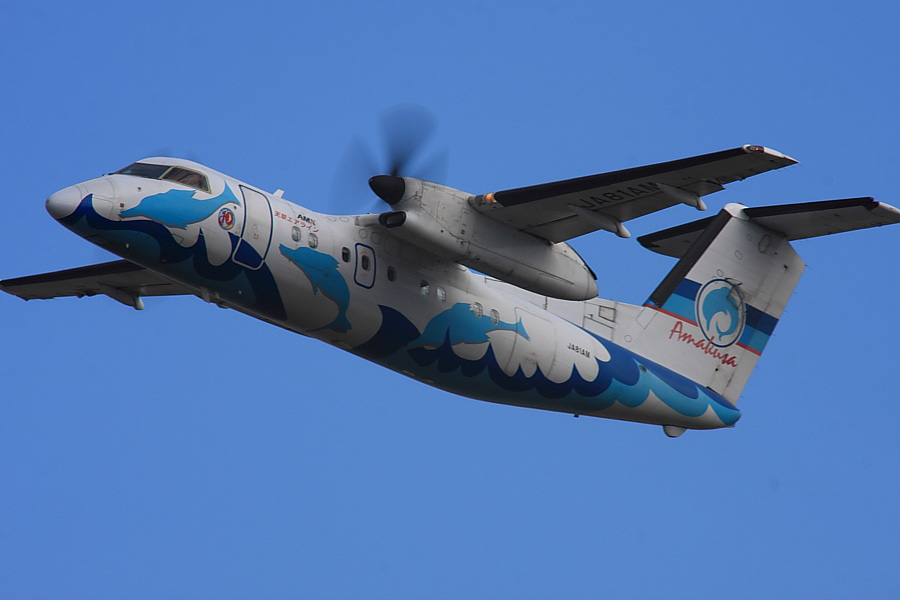 AMX DHC8-103 JA81AM@RWY14Rエンド・猪名川土手(by EOS40D with SIGMA APO 300/2.8EX DG+APO TC2x)