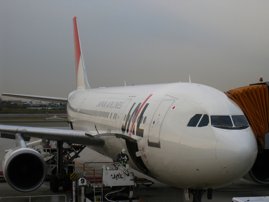 JAL A300-622R JAL110/JA016D@伊丹空港ターミナル搭乗ゲート周辺(by IXY DIGITAL 910IS)