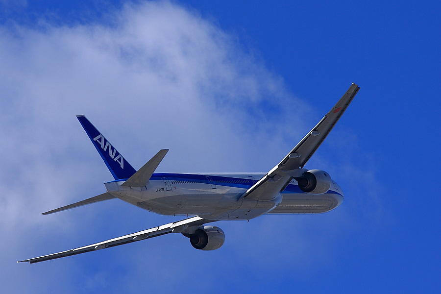 ANA B777-381 ANA105@下河原緑地公園展望デッキ(by EOS40D with SIGMA APO 300mm F2.8 EX DG/HSM)