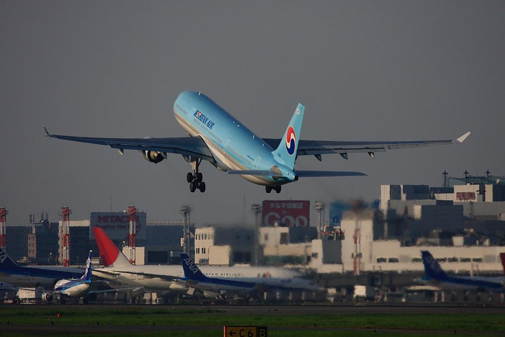 KAL A330-223 KE790@福岡空港周辺・自衛隊席(by EOS40D with EF100-400/4.5-5.6L IS)