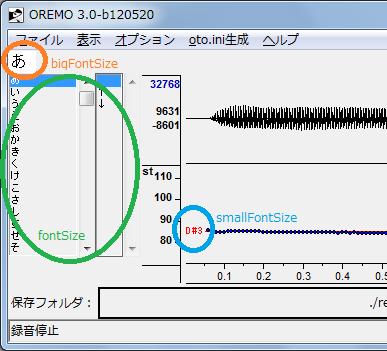OREMOのフォントサイズ変更例
