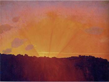 日没、オレンジ色の空