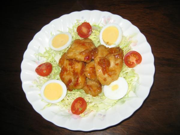 鶏ムネ肉のあんずジャムと豆板醤炒め